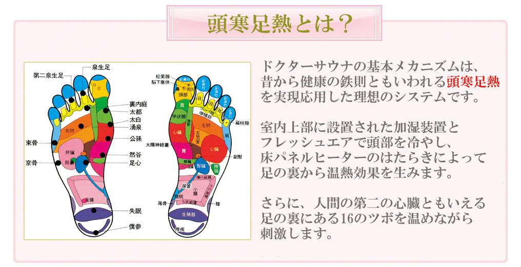 ドクターサウナは頭寒足熱を実現した理想のモデルです。加湿器、床のパネルヒーターで足の裏から温熱効果を生みます。